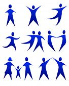 picture of olympiad  - vector illustration of abstract figure movements - JPG