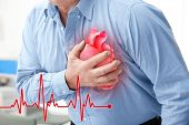 Heart attack concept. Senior man suffering from chest pain, closeup poster