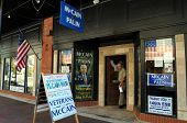 PENSACOLA, FLA - OCT 22: Signs at the Veterans for McCain campaign office in Pensacola, Florida, on