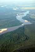 Aerial view of rainforest at the Araguaia River on the border of the states of Mato Grosso and GoiÃ?