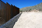 End of border fence between the US and Mexico a few miles west of the border crossing in Sasabe, Ari