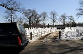 stock photo of hearse  - Military funeral at the Arlington National Cemetery in Virginia - JPG