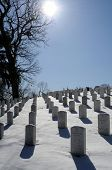 ARLINGTON - March 3: The heaviest winter storm of the year leaves Arlington National Cemetery covere