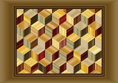 Vector illustration depicting a marquetry design of repeating cubes in wood veneers.