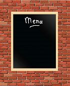 An illustration of a 'menu' chalkboard against a brick wall
