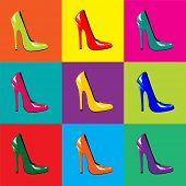 A vector illustration of bright, high-heel shoes on colourful tiled background. Pop-art style. Seaml