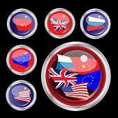 Una ilustración del vector de brillante web botones con banderas de la UK, USA, UE, Rusia y China un lar