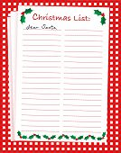 A vector illustration of a 'Dear Santa' blank Christmas list on festive background. Space for text.