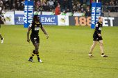 LONDON - MAY 1: Paul Sackey and Joe Simpson. London Wasps v Cardiff Blues, semi finals of the Amlin
