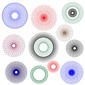 A vector illustration of spirographs in various forms and colours