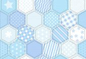 An illustration of a patchwork quilt background in shades of blue.