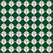 A seamless pattern of Fleur de Lys tiles on green background. EPS10 vector format