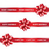 A seamless vector of red gift bows and ribbons on white background. Fully editable to enable insertion of your own text. EPS10 vector format.