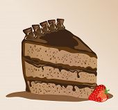 A s chocolate gateau with a strawberry. EPS10 vector format.