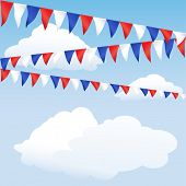 Red white and blue bunting. English or USA colours, suitable for 4th of July or Royal Wedding backgr