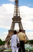 Tourists At Eiffel Tower poster