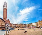 Famous Piazza Del Campo With Torre Del Mangia In Siena, Tuscany, Italy poster
