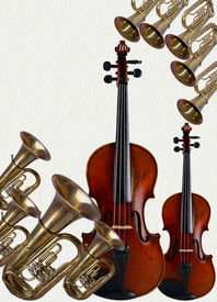 pic of musical instrument string  - Musical instruments happen string and wind tubaviolin - JPG