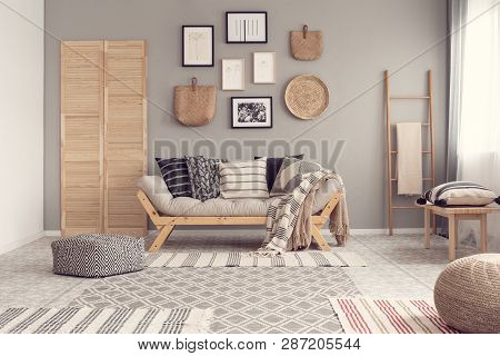 poster of Fashionable Scandinavian Living Room Interior Design, Natural Accents Concept