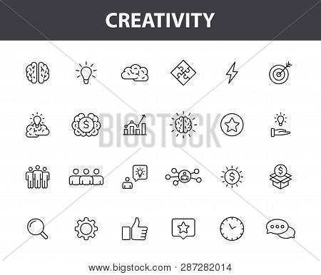 poster of Set Of 24 Creativity And Idea Web Icons In Line Style. Creativity, Finding Solution, Brainstorming,