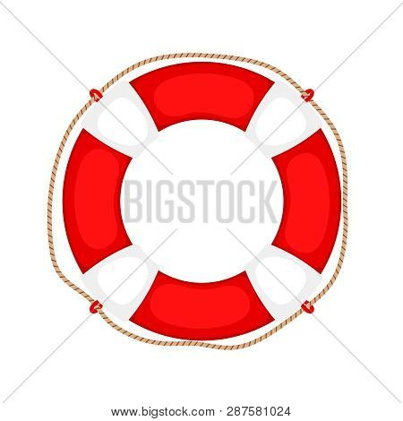 poster of Lifebuoy On White. Life Preserver Rubber Safety Ring With Rope, Round Lifesaver Isolated, Protect Su