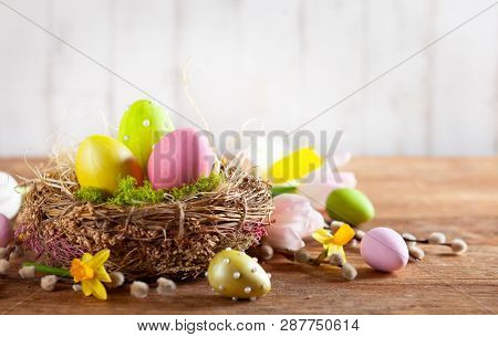 poster of Easter composition with colorful Easter eggs in nest ,spring flowers and branches of pussy willows o