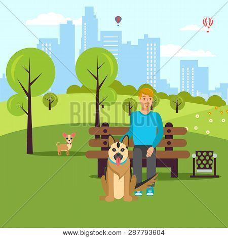 poster of Dog Lover Walk In Park Vector Flat Illustration. Cartoon Character Pet Owner And Dogs In Garden. Ani