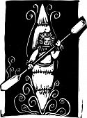 stock photo of eskimos  - Woodcut style image of a Inuit Eskimo style kayak - JPG