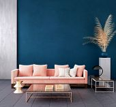 Modern Dark Blue Living Room Interior With Pink Color Couch And Golden Decor,wall Mock Up,3d Rillust poster