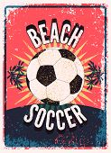 Beach Soccer Typographical Vintage Grunge Style Poster. Retro Vector Illustration. poster