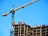 Crane. Self-erection Crane Over Construction Site. Crane Near Bulding. I.ndustrial Background. poster