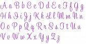 Purple Glitter Sweetheart Alphabet Letters