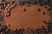 Variety Of Fresh And Dry Cocoa Beans With Chopped Dark Chocolate Over Cocoa Powder As Background. Ch poster