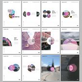 Minimal Brochure Templates With Circles, Round Elements On White Background. Covers Design Templates poster