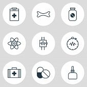Illustration Of 9 Health Icons Line Style. Editable Set Of Drug, Urn, Cardiogram And Other Icon Elem poster