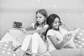 Girlish Leisure Pajama Party. Girls Smartphone Little Bloggers. Online Entertainment. Explore Social poster