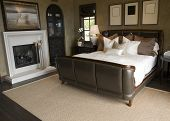 image of master bedroom  - Luxury home bedroom with stylish furniture and a fireplace - JPG