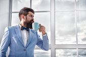 Good Morning Coffee. Serious Bearded Man Drink Coffee. Businessman In Formal Outfit. Modern Life. Bu poster