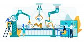 Robot Production Illustration. Industrial Machinery Manufacture. Man And Woman Character At Plant Co poster