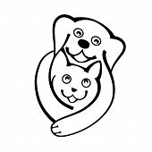 Dog And Cat Hug Together With Love, Logo On White Bckground. poster