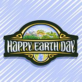 Vector Logo For Earth Day, Black Signage With 3 Hills Of Mountains Land, Oasis With Lake, Forest Wit poster