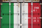Close-up Of The Container With The National Flag Of Italy. The Concept Of  Italy  Export-import And  poster
