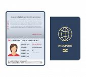 Passport Document. Id International Paper Passport Page With Female Photo Legal Sample Isolated Vect poster