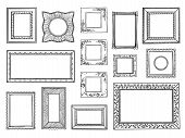 Hand Drawn Frames. Doodle Square And Circle Boarders, Vintage Decorative Sketch Shapes. Vector Doodl poster