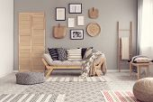 Fashionable Scandinavian Living Room Interior Design, Natural Accents Concept poster