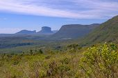 View Of The Chapada Diamantina Landscape In The Vale Do Capao Valley, With The Morro Do Morrao Mount poster