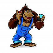 Gorila de dibujos animados con los teléfonos móviles