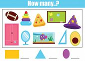 Counting Educational Children Game. Mathematics Kids Activity Sheet. How Many Objects. Study Geometr poster