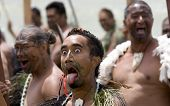 Maori Warrior With Big Eyes And Tongue At A Haka