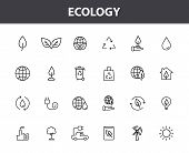 Set Of 24 Ecology Web Icons In Line Style. Electric Car, Organic, Environmental Energy. Vector Illus poster